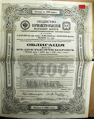 Russian Warsaw-Vienna Railroad 925.8 Rubles Gold bond, 1901