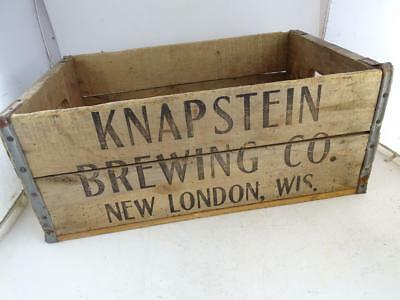 Antique Advertising Wood Crate Knapstein Brewing New London WI Beer Bottle Vtg