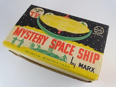 Vintage Louis Marx & Co Mystery Space Ship Astronaut Toy UFO Wind Up Alien w/Box