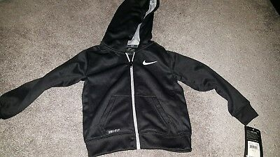 Boy's Nike Toddler Therma-Fit Black Zip Up Hoodie Jacket Front Pockets Size 3T