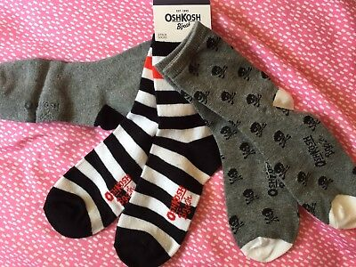 A LOT OF 3 PAIRS BOYS HALLOWEEN SOCKS BY OSHKOSH SIZE 13.5 8 Years Old