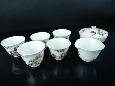 J2078: Japanese Kutani-ware Person Flower pattern Sencha TEAPOT YUSAMASHI CUPS