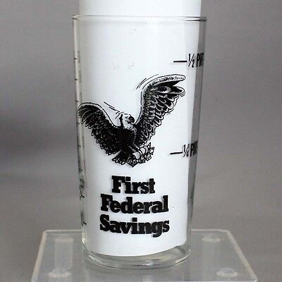 Vtg Advertising Measuring Glass FIRST FEDERAL SAVINGS Cup EAGLE Measure Promo