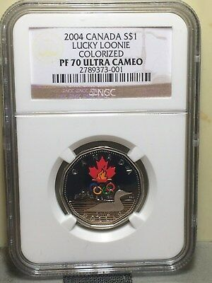 "2004 Canada S$1 ""lucky Loonie"" Colorized Ngc Pf 70 Ultra Cameo...pop=1"