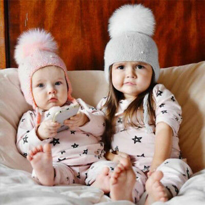 Cute Kids Child Hair Ball Earbud Hat Crochet Baby Winter Warm Knit Hats Cap