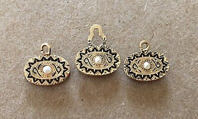 Victorian Ornate 12Ct Solid Yellow Gold Enamel & Pearl 3 Shirt Or Vest Stud Lot