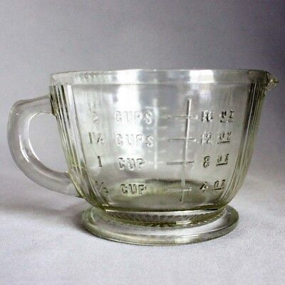 Vtg Old 2 cup measure ANCHOR HOCKING Clear Glass MEASURING PITCHER Spout Mint!