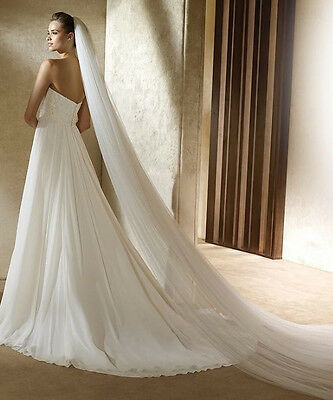 """Cathedral Light Ivory 2T Layer 120"""" Long Soft Sheer No Trim Wedding Veil"""
