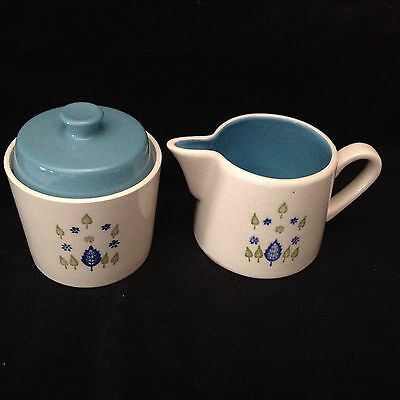 Marcrest Stetson Swiss Chalet Creamer, Sugar, 2 Ashtrays White Blue/Green Leaves