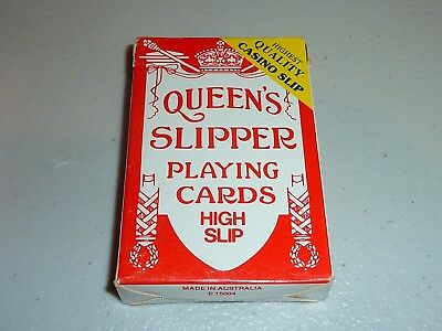 queens slipper playing cards high slip casino quality vintage 1987 red australia