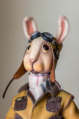 Collectible doll, doll character rabbit Pantoufle, wooden, handmade, steampunk