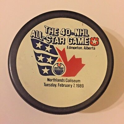 Rarest 1989 40th NHL All Star Game Puck - Edmonton - Trench General Tire Ziegler