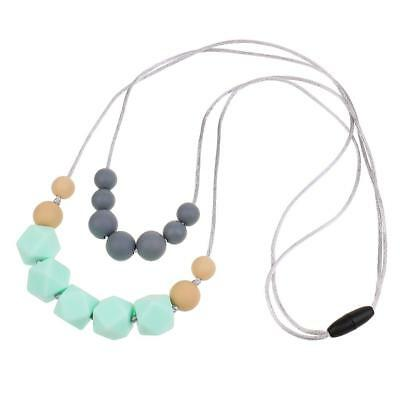 1pc Cute Baby Silicone Nursing Teething Chewable Green Teething Necklace Toy