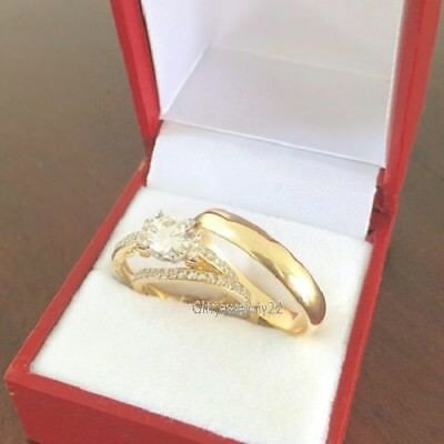 14K Yellow Gold 925 Silver His Hers Wedding Band Engagement Bridal Ring Trio Set