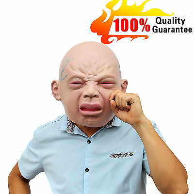 Baby Crying Latex Mask  Halloween Cosplay Prop Scary Dress Costumes Party