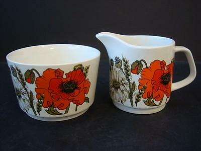 J & G Meakin Poppy Milk Jug & Sugar Bowl