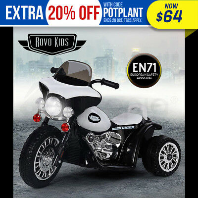 NEW ROVO KIDS Electric Ride On Patrol Motorbike - Motorcycle Toy Bike Battery