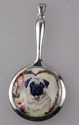 Hand Mirror Vintage Style Miniature enamel of a Pug Dog set in Silver 925