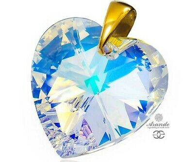 Swarovski Crystals Pendant Aurora Heart Gold Plated Sterling Silver Certificate