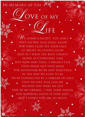 Grave Card - In Memory Of The Love Of My Life At Christmas - Free Card Holder -