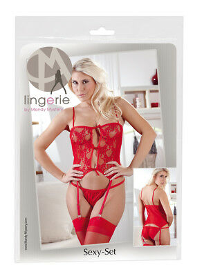 0204170 Set Bustier Guepiere in Pizzo Floreale Rosso + Slip + Calze Bianche