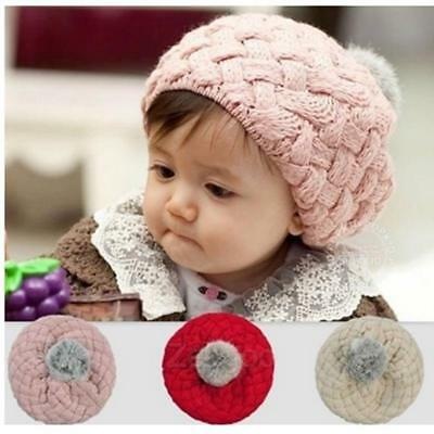 Newborn Baby Girls Infant Toddler Crochet Knit Pom Warm Cap Beanie Cap Hat JJ