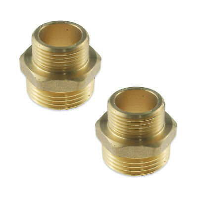 "Pair Of Male 1"" To 3/4"" Brass Connectors Straight Reducing Bush Adaptor Bsp Pipe"