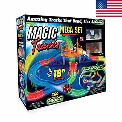 Magic Tracks 18 ft. Mega Set With LED Race cars Colorful Glow In The Dark 360PCS