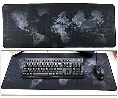 Black Non-Slip World Map Game Mouse Pad Mat For Laptop Computer Keyboard 40x90cm