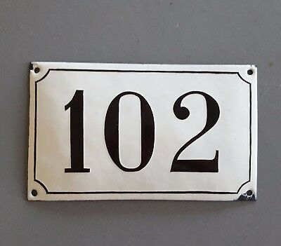 ANTIQUE FRENCH STEEL ENAMEL HOUSE NUMBER SIGN 102 Gate garage front door plaque