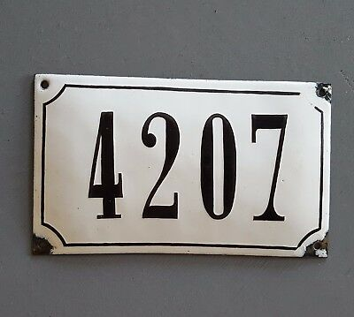 ANTIQUE FRENCH STEEL ENAMEL HOUSE NUMBER SIGN 4207 Gate garage front door plaque