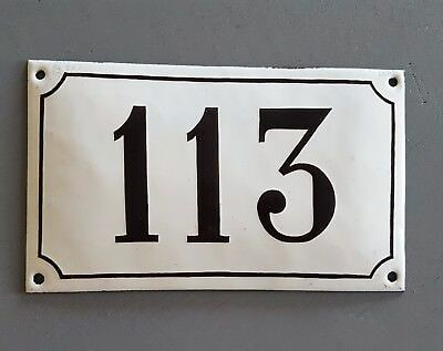 ANTIQUE FRENCH STEEL ENAMEL HOUSE NUMBER SIGN 113 Gate garage front door plaque