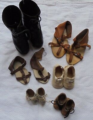 Six Pairs Of Genuine Antique Dolls Shoes,some Tlc