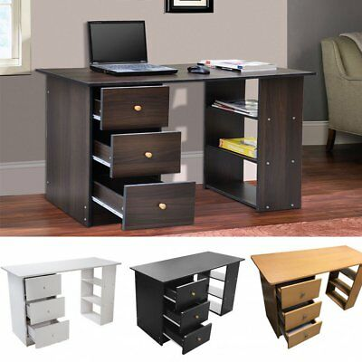 Computer Desk 3 Drawer Furniture for Home Office Study PC Table Wood DT