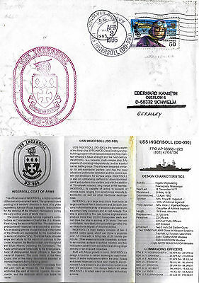 Uss Ingersoll Dd 990 Destroyer Naval Cached Cover & Brochure