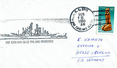 Uss England Cg 22 Guided Missile Cruiser  Naval Cached Cover