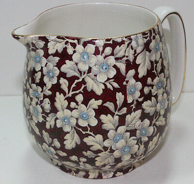 Vintage Lord Nelson Royal Brocade Red Chintz Pitcher