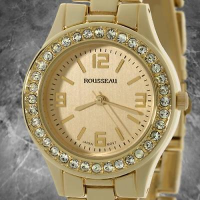 Authent Rousseau Women's Rene Collection Gold Sleek Watch Swarovski Crystals