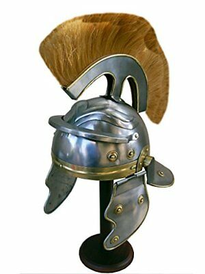 Roman Centurion Helmet (thick natural plume) re-enactment / larp / role-play