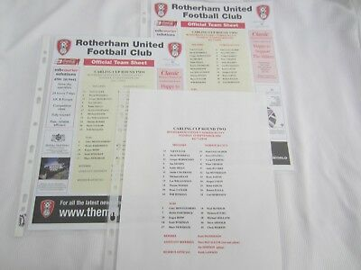 J2006-07 CARLING CUP ROTHERHAM UNITED v NORWICH CITY  X3 DIFFERENT TEAM SHEET