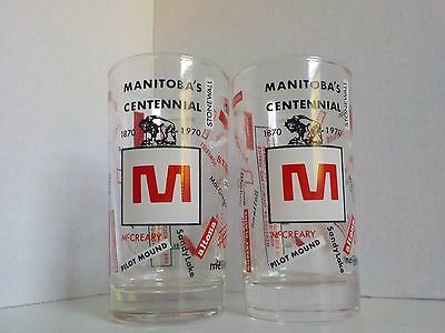 Vintage Set of Two Glasses Manitoba Centennial 1970 MacLeod's Store Advertising