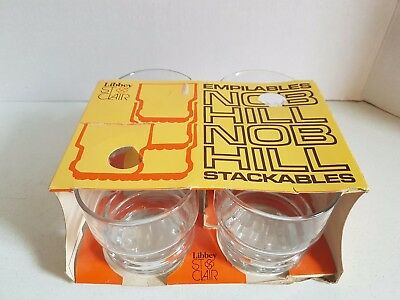 Vintage Set of Drinking Glasses in Package Libbey St Clair Stackable Nob Hill