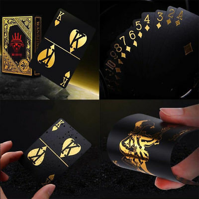 US STOCK 55pcs/set Gold Plastic Poker Waterproof Magic Playing Cards Table Games