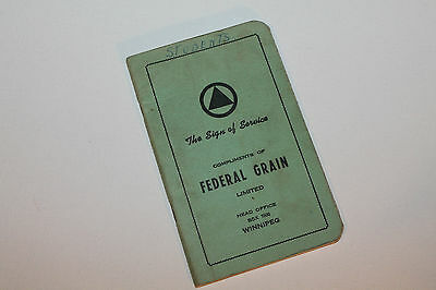 Vintage Booklet Used Notebook Federal Grain Ltd Winnipeg #2