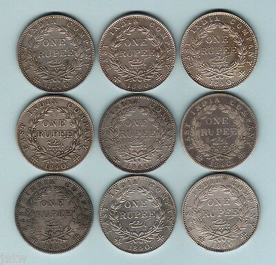 India. Queen Victoria - 1840 Rupees.. Type-1 (continuous legend) x 9 Coins. F-EF
