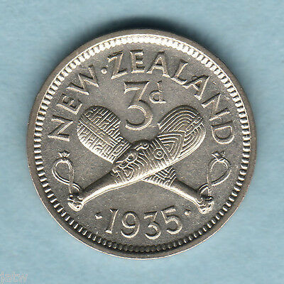 New Zealand. 1935 Threepence... Part Lustre... VF/gVF