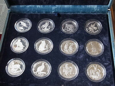 Cook Islands. 1991 Endanged Wildlife -12 Silver Coin Set. Proof in Original case