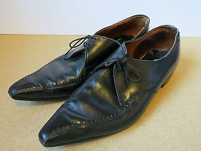 Mens Vintage 8 1/2 Black Leather Winklepickers Shoes Mod Revival Indie By Dolcis