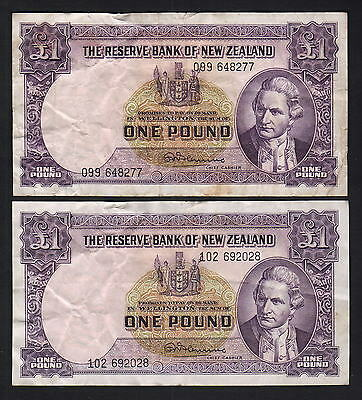 NEW ZEALAND P-159c. 1 Pound (1956-67) - Fleming x2 Notes. Pre 099 & 102. aVF,gVF