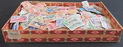 OLD CIGAR BOX CONTAINING VINTAGE COLLECTION OF EMPIRE STAMPS - COUPLE OF 1000s